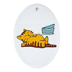 Funny Fat Cat Oval Ornament