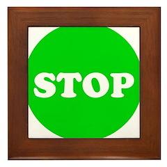 Stop Green Light Framed Tile