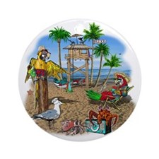 Parrot Beach Shack Round Ornament
