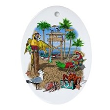 Parrot Beach Party Ornament (Oval)