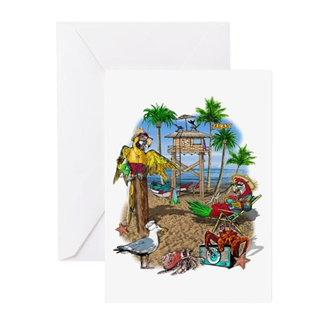 Parrot Beach Shack Greeting Cards (Pk of 20)