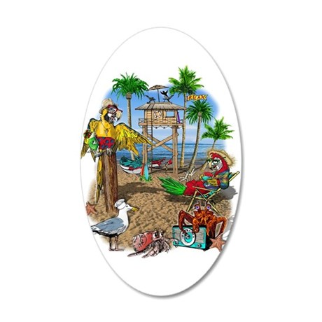 Parrot Beach Party 22x14 Oval Wall Peel