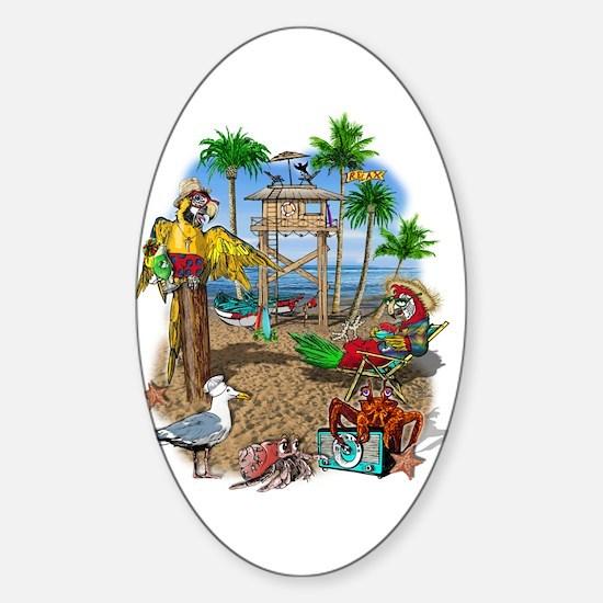 Parrot Beach Shack Sticker (Oval)