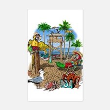 Parrot Beach Shack Sticker (Rectangle)