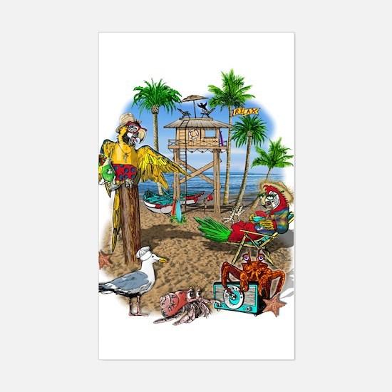 Parrot Beach Shack Sticker (Rectangle)