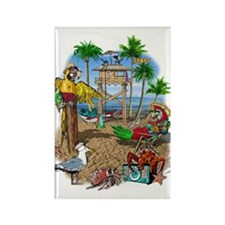 Parrot Beach Shack Rectangle Magnet