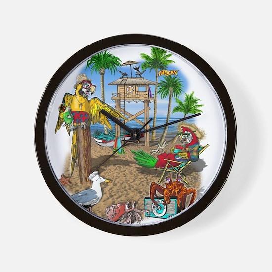 Parrot Beach Shack Wall Clock
