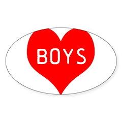 I Love Boys Sticker (Oval 50 pk)