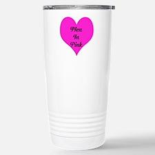 iHeart Men in Pink Stainless Steel Travel Mug