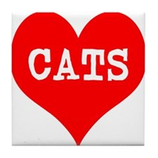 I Heart Cats Tile Coaster