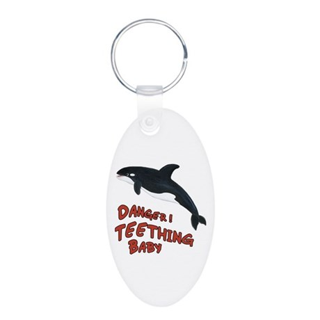 Whale - Teething Danger! Aluminum Oval Keychain