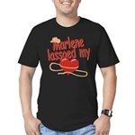 Marlene Lassoed My Heart Men's Fitted T-Shirt (dar