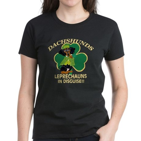 Dachshunds Are Leprechauns In Women's Dark T-Shirt