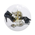 Shoes Wine Glasses Cascading Ornament (Round)
