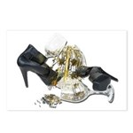 Shoes Wine Glasses Cascading Postcards (Package of