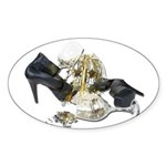 Shoes Wine Glasses Cascading Sticker (Oval)