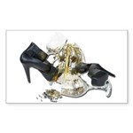 Shoes Wine Glasses Cascading Sticker (Rectangle)