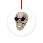 Skull Purple Glasses Ornament (Round)