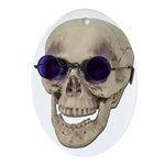 Skull Purple Glasses Ornament (Oval)