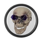 Skull Purple Glasses Large Wall Clock