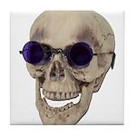 Skull Purple Glasses Tile Coaster