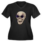 Skull Purple Glasses Women's Plus Size V-Neck Dark