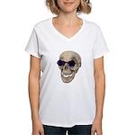 Skull Purple Glasses Women's V-Neck T-Shirt