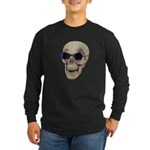 Skull Purple Glasses Long Sleeve Dark T-Shirt