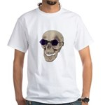 Skull Purple Glasses White T-Shirt