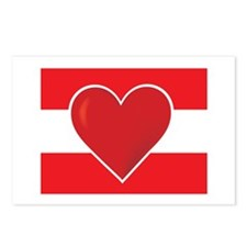 Heart Austria Flag Postcards (Package of 8)