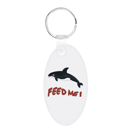 Whale - Feed Me Aluminum Oval Keychain