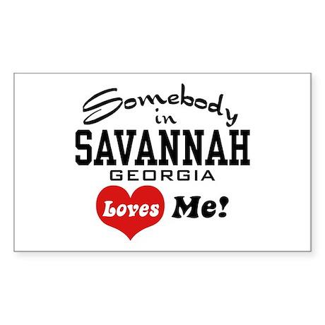 Somebody In Savannah Loves Me Sticker (Rectangle)