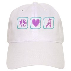 Peace, Love and Ballet Shoes Baseball Cap