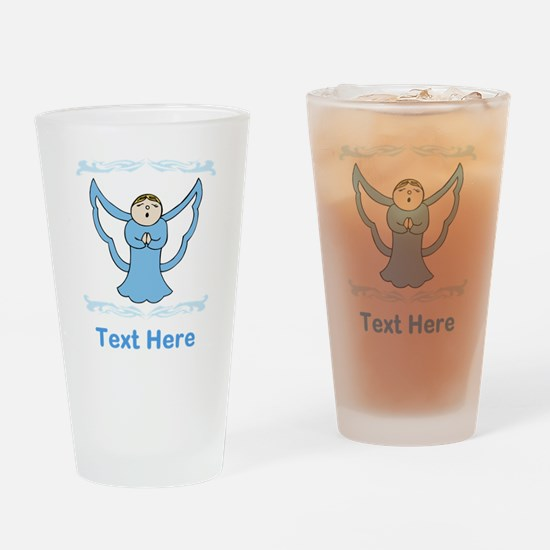 Singing Angel. Blue Text. Drinking Glass