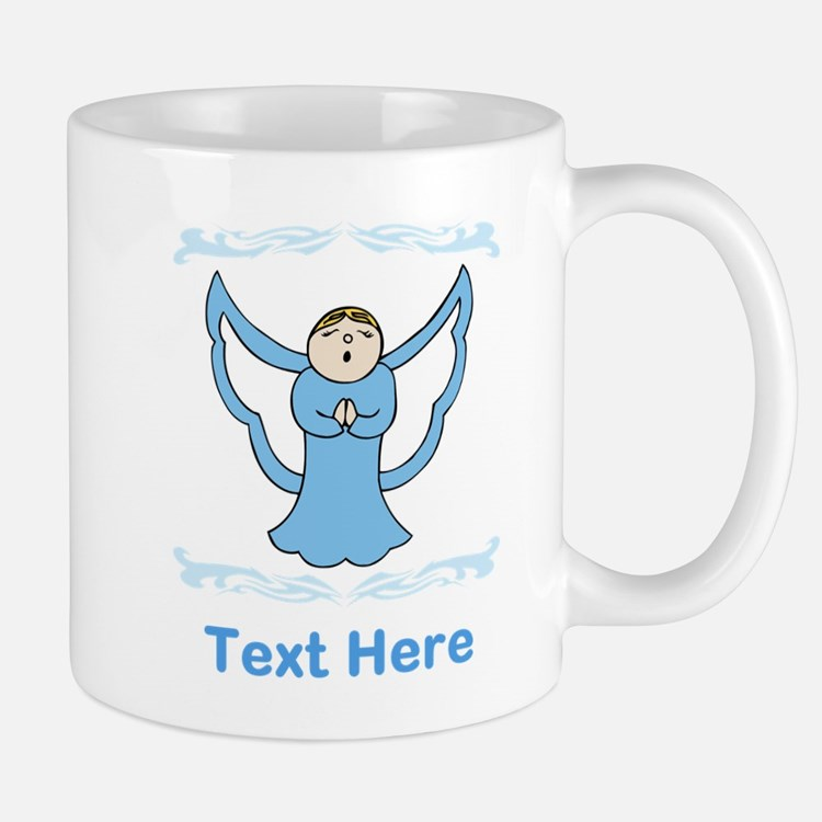 Singing Angel. Blue Text. Mug