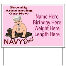 Navy Brat Pink Customizable Yard Sign