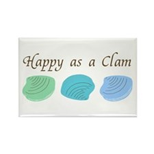 Happy as a Clam Rectangle Magnet