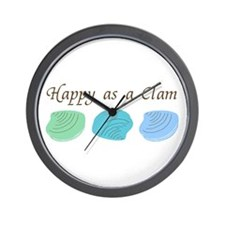 Happy as a Clam Wall Clock
