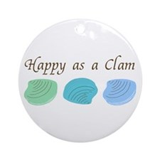Happy as a Clam Ornament (Round)