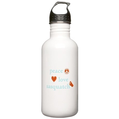 Peace, Love and Sasquatch Stainless Water Bottle 1