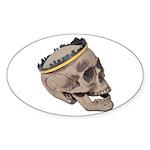 Skull Wearing Skyline Crown Sticker (Oval 10 pk)