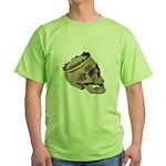 Skull Wearing Skyline Crown Green T-Shirt
