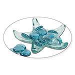 Starfish Glass Sand Dollars Sticker (Oval 50 pk)