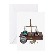 Weighing Gems on Scale Greeting Card