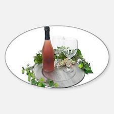 Wine Bottle Glasses Silver Ch Sticker (Oval)