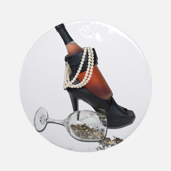 Wine Bottle Heels Pearls and Ornament (Round)