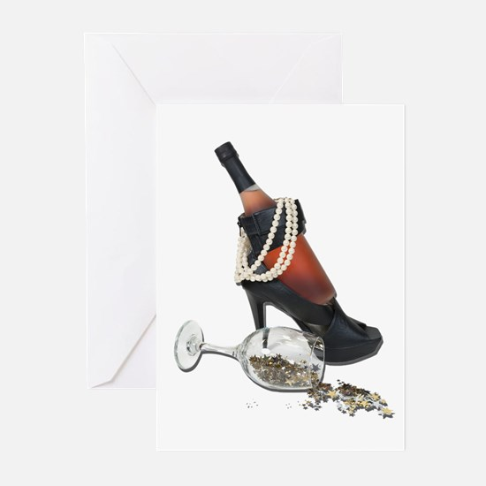 Wine Bottle Heels Pearls and Greeting Cards (Pk of