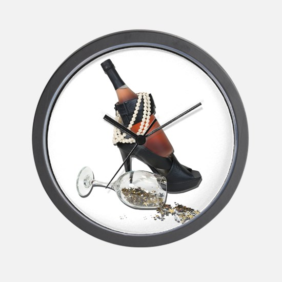 Wine Bottle Heels Pearls and Wall Clock
