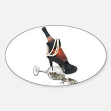 Wine Bottle Heels Pearls and Sticker (Oval)