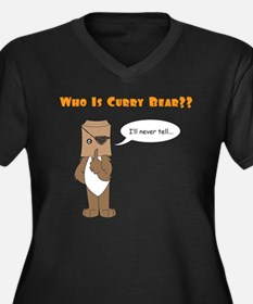 Who Is Curry Bear? Women's Plus Size V-Neck Dark T